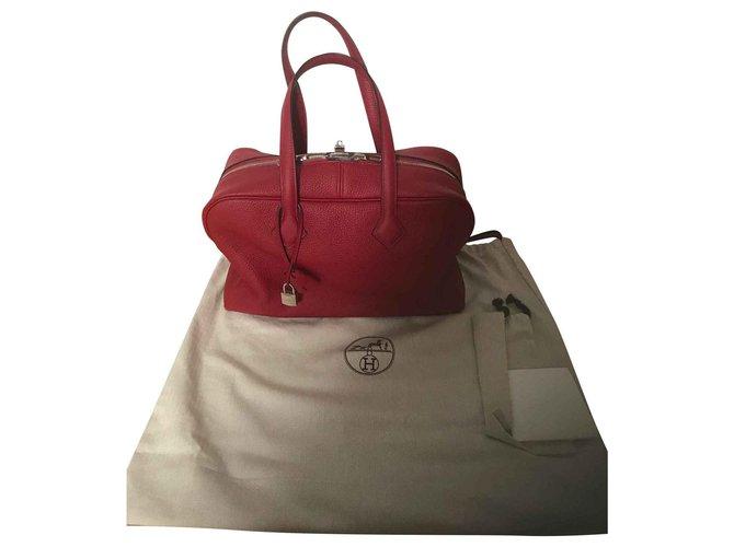 Hermès Hermes Bag Victoria Red Garnet New Handbags Leather Red ref.111745