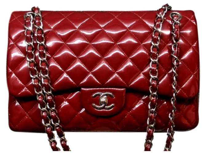 9c63dda13905 Chanel Chanel Patent Red Jumbo classic flap bag Handbags Patent leather Red  ref.111788