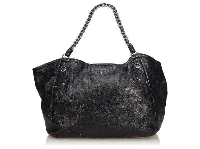 14e5b17a14ce Prada Leather Chain Tote Bag Totes Leather