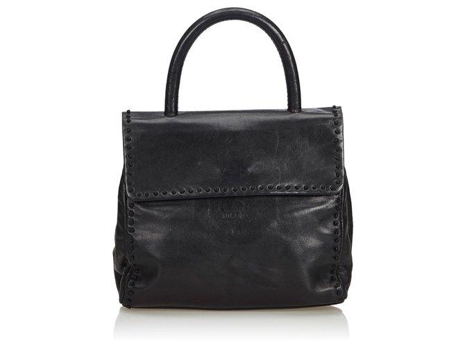 b7991f61592803 Prada Patent Leather Handbag Handbags Leather,Other Black ref.112094 ...