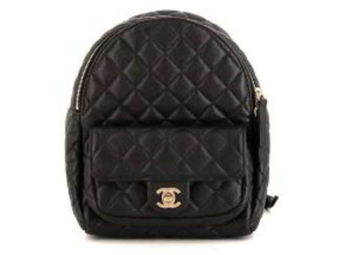 105fd5759e28 Chanel Chanel Leather Backpack Backpacks Leather Black ref.112626 ...