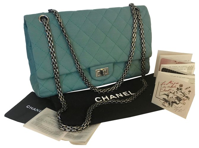 0a2ce233d09d Chanel 2.55 Reissue Jersey 226 Classic Flap Handbags Leather,Cloth Light  green,Turquoise,