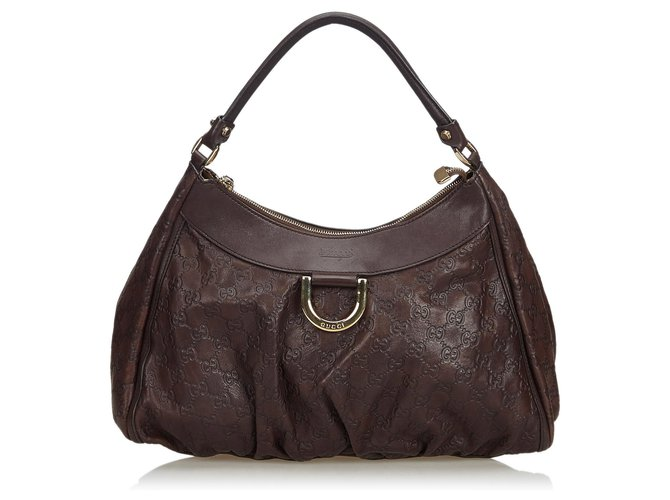9c20fbea2 Gucci Guccissima Abbey D-Ring Shoulder Bag Handbags Leather,Other Brown  ref.112812