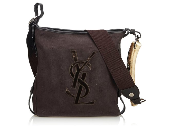 fad7060b82 Yves Saint Laurent Mombasa Canvas Crossbody Bag Handbags Leather ...