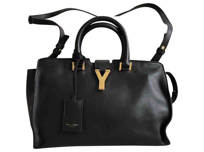 337a53e171 Yves Saint Laurent YSL Chyc Shoulder Bag Handbags Leather Black ref.112901