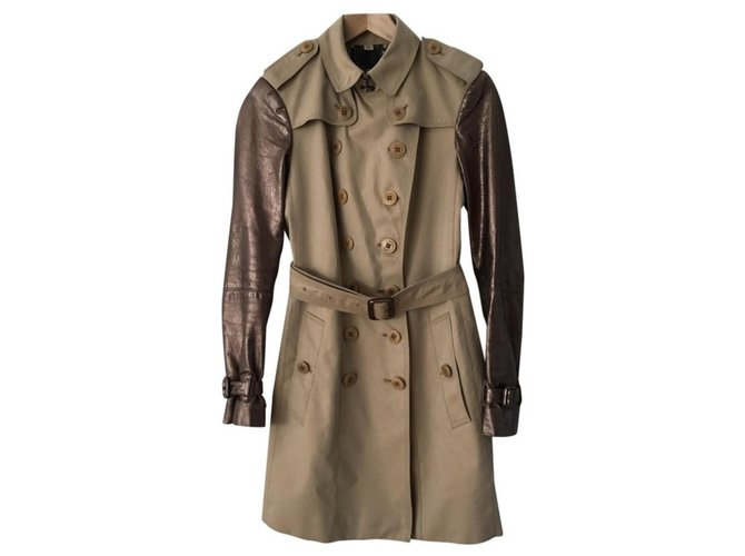 Burberry Trench coats Trench coats Leather,Cotton Beige ref.113088