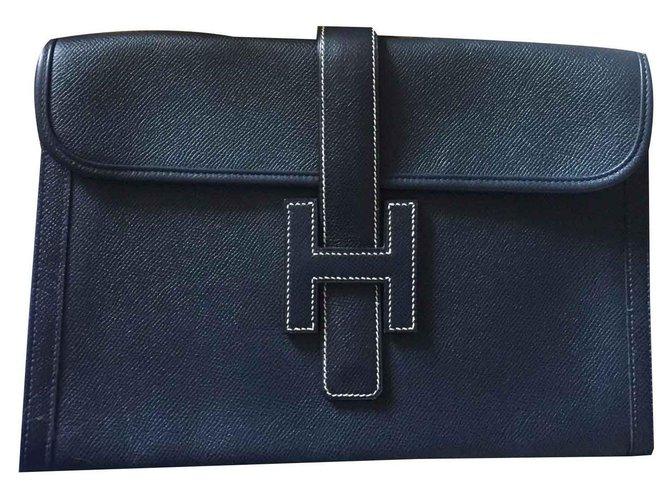 Hermès Beautiful  handbag Jige Hermes vintage unused Clutch bags Leather Dark blue ref.113093
