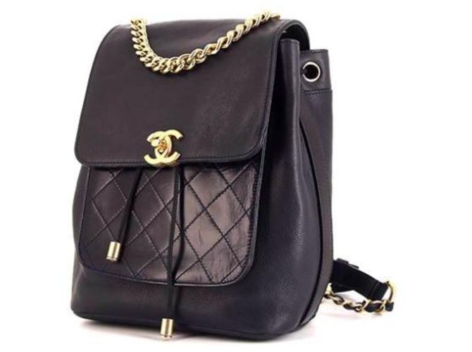 4603b38ebcbb Chanel Chanel Leather Backpack Backpacks Leather Black ref.113099 ...
