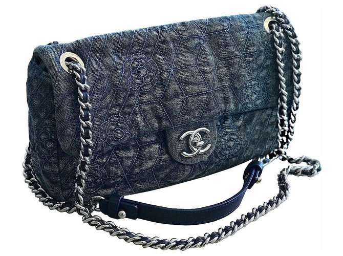 6aea232cabfd Chanel Crossbody denim flap bag Handbags Leather