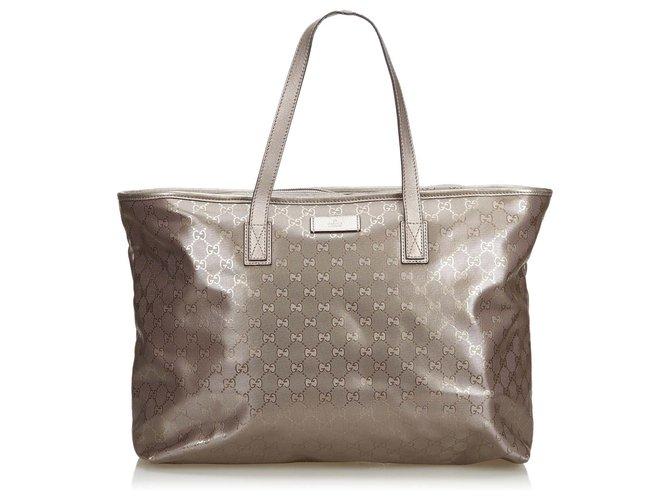 b3ff8287ce346e Gucci GG Supreme Imprime Tote Bag Totes Leather,Other,Cloth,Cloth Silvery  ref