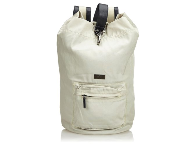 47778af4a Gucci Nylon Backpack Backpacks Leather,Other,Nylon,Cloth Other,Grey ref.