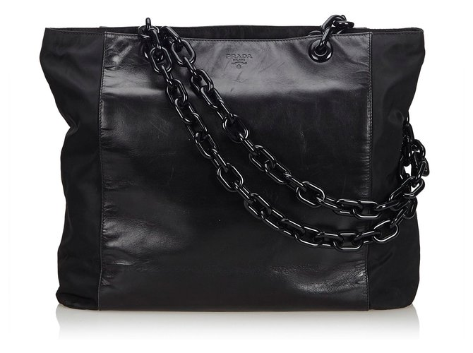 31e3bbaf4e6d Prada Leather Chain Tote Bag Totes Leather,Other,Plastic Black ref.113213