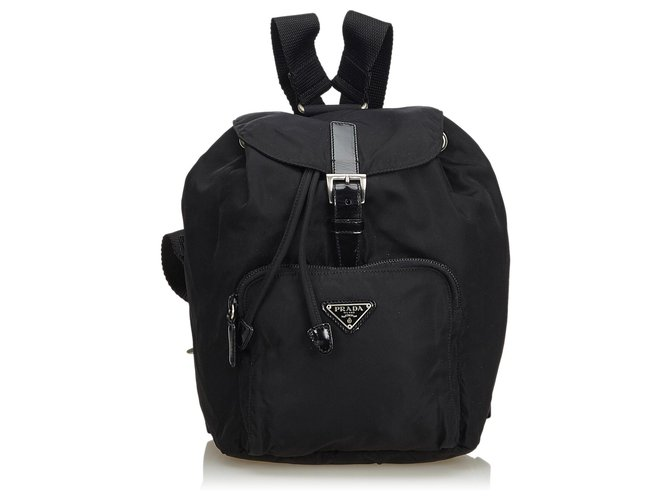 15e2c281a5ee Prada Nylon Drawstring Backpack Backpacks Leather
