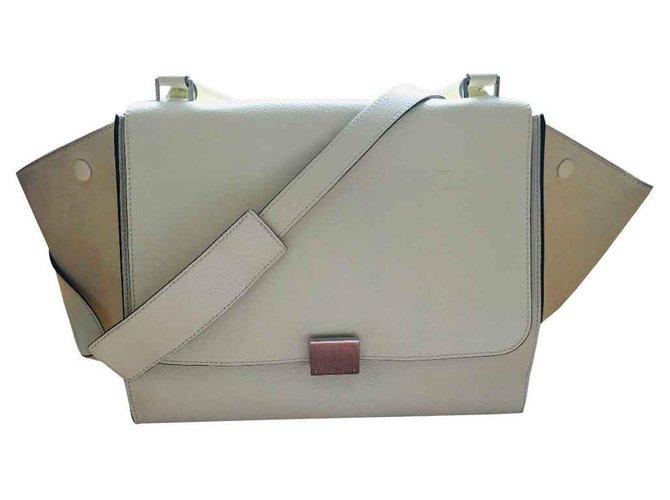 Céline Trapeze Handbags Leather Eggshell ref.113410