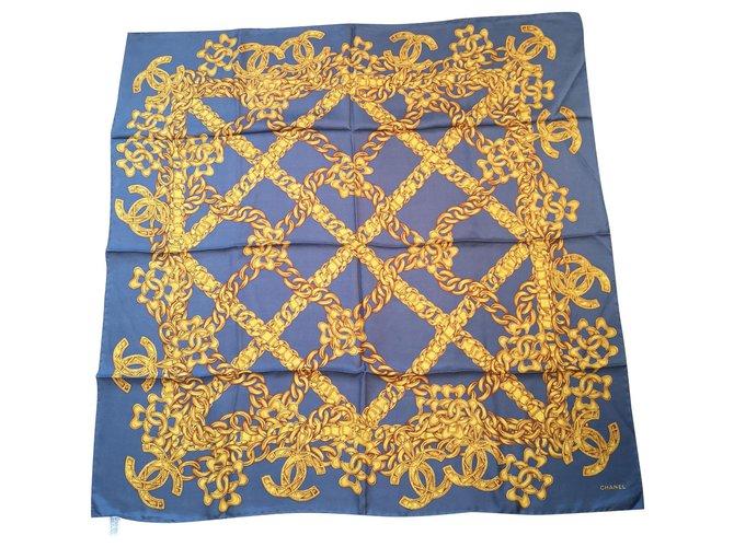 Chanel Scarf Silk scarves Silk Blue,Golden ref.113720