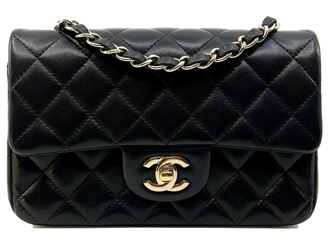Chanel Black small rectangualr TIMELESS 20x13, pale gold hardware Handbags Leather Black ref.113728