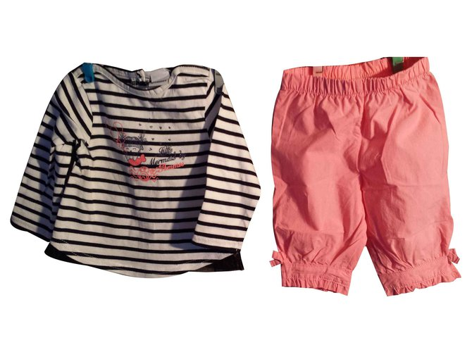 3pommes Girl's T-shirt and bermuda set 6 months old. marked 3 Apples Outfits Cotton Other ref.113756