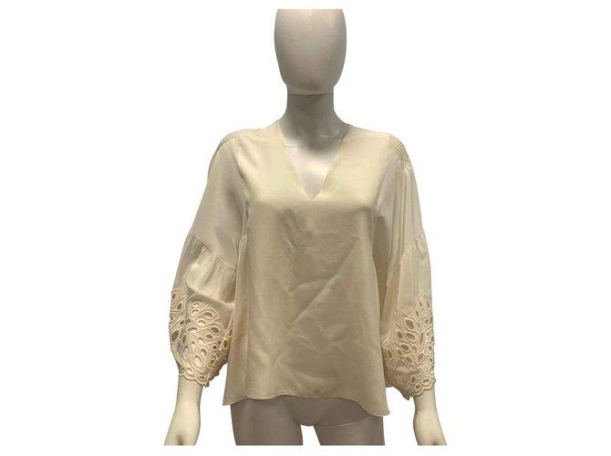 Chloé Silk embroidered top Tops Silk Cream ref.113835