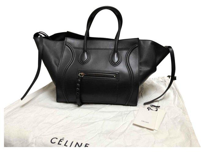 31005a152 Céline Céline Luggage Phantom Totes Leather Black ref.113878 - Joli ...