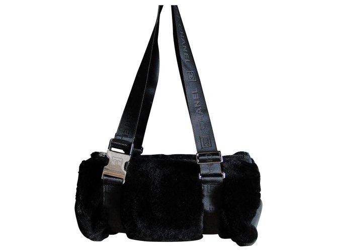 ea6d0d8397b44f Chanel CHANEL Boston faux fur bag Handbags Synthetic,Fur Black ref.113975