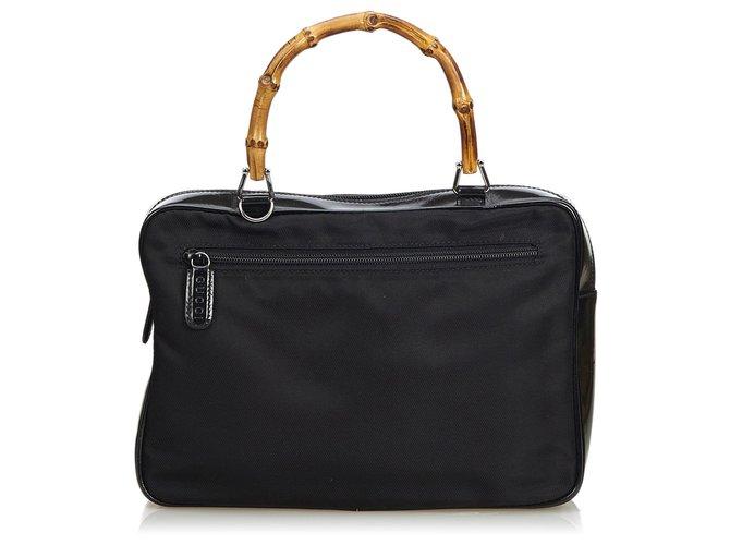 88f35c31d9ad Gucci Bamboo Nylon Handbag Handbags Leather,Patent leather,Nylon,Cloth  Black ref.