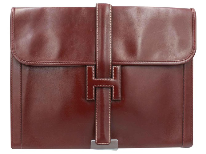 Hermès Jige Gm Handbags Leather Dark red ref.114340