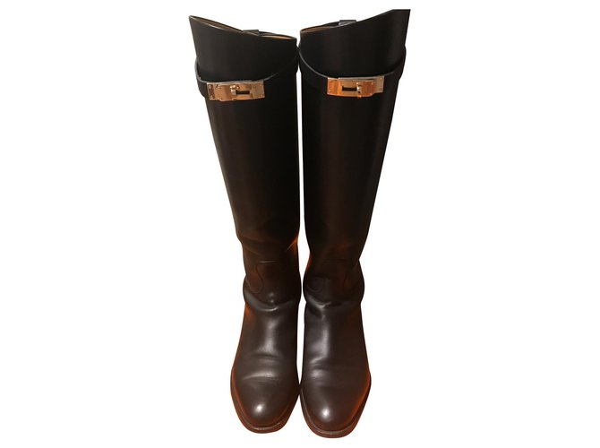 Hermès show jumping Boots Leather Black ref.114437