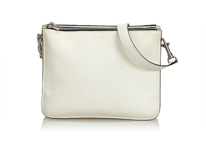 Céline Small Leather Trio Bag Handbags Leather,Other White,Cream ref.114550