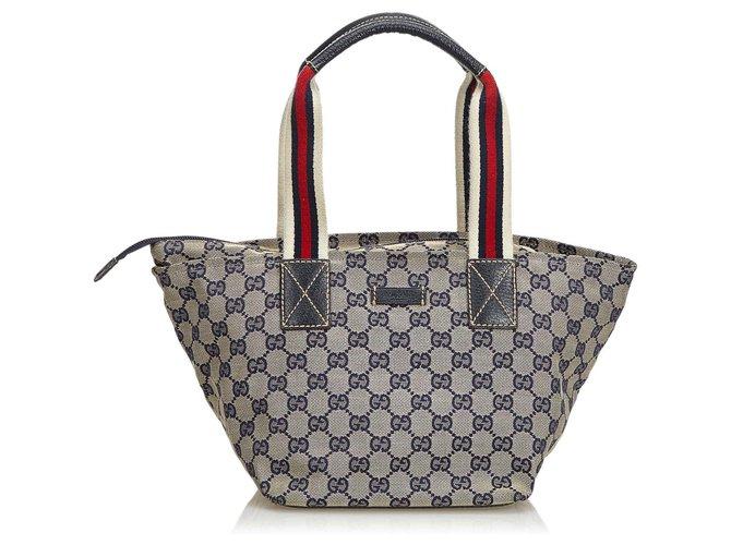 30ad97db07c Gucci GG Web Canvas Handbag Handbags Leather