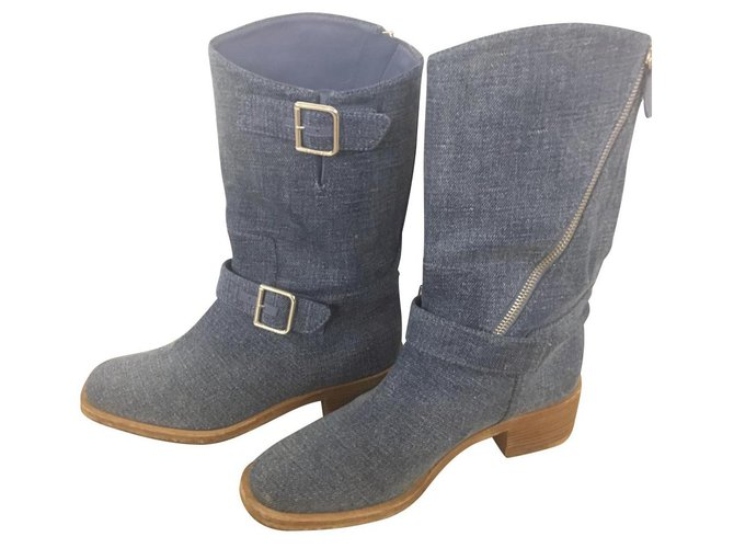 Chanel Ankle Boots Ankle Boots Denim Light blue ref.114594