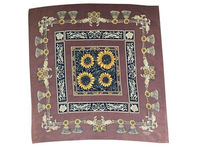 Hermès Scarf Silk scarves Silk Brown ref.114821
