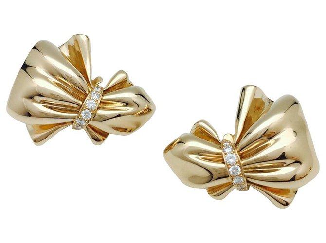 """Boucles d'oreilles Van Cleef & Arpels Boucles d'oreilles Van Cleef & Arpels """"Noeud"""" en or jaune et diamants. Autre,Or jaune Autre ref.114895"""