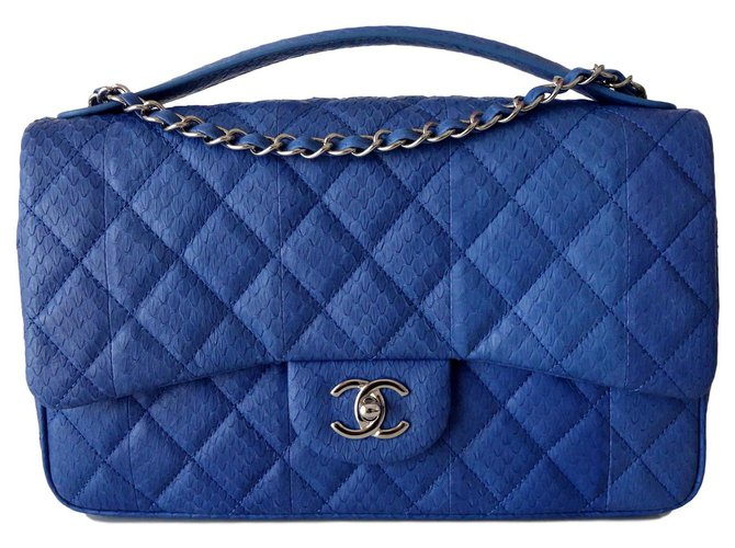 Chanel BAG CHANEL LEATHER EXOTIC GM Handbags Exotic leather Blue ref.114897
