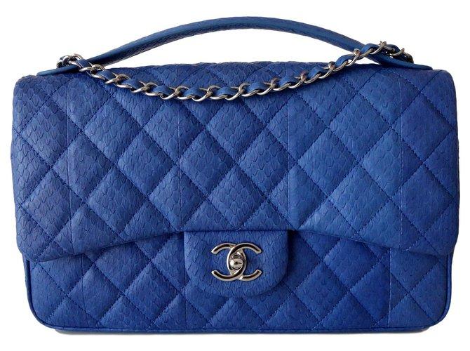 Chanel TASCHE CHANEL LEDER EXOTIC GM Handtaschen Exotisches Leder Blau ref.114897