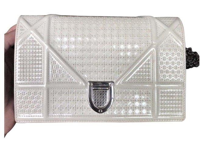 Diorama Bag In White Patent Leather
