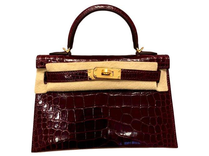 Sacs à main Hermès Kelly Mini II Cuirs exotiques Bordeaux ref.114966