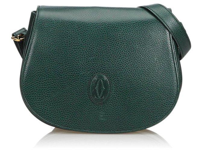 dd93d68ef Cartier Must De Cartier Leather Crossbody Bag Handbags Leather,Other Green,Dark  green ref