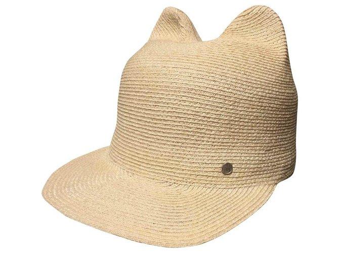 Maison Michel Jamie Hats Straw Beige ref.115275