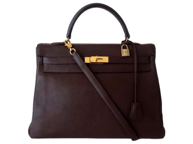 Hermès BAG HERMES KELLY BROWN Handbags Leather Brown ref.115370