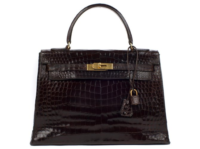 Hermès hermes kelly 32 crocodile gold hardware Handbags Exotic leather Brown ref.115413