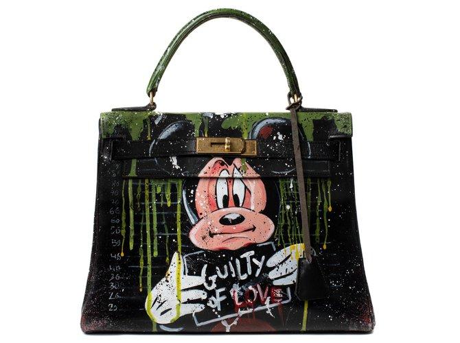 a9b5ac38075 Hermès Superb Hermes Kelly 28 black box leather revisited by artist DARYA  entitled