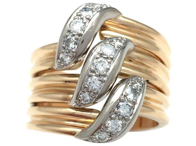 """Bagues Cartier Bague Cartier, modèle """"Trille"""" en or jaune et blanc, diamants. Or blanc,Autre,Or jaune Autre ref.115740"""