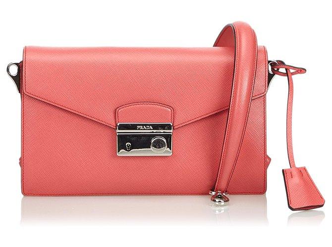 bb0742e44d72 Prada Saffiano Mini Sound Crossbody Bag Handbags Leather,Other Pink  ref.116151