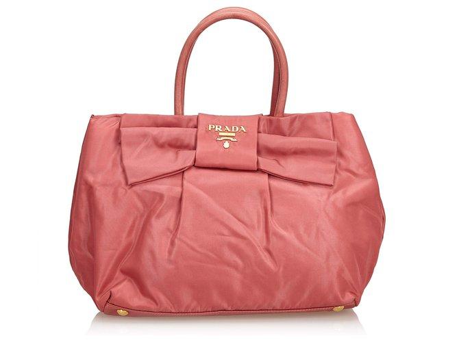 6375acbb7fe182 Prada Tessuto Nylon Bow Handbag Handbags Leather,Other,Nylon,Cloth Pink ref.
