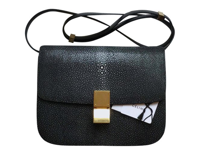 Céline Rare! Stingray 24cm  with tags, Classic Box Bag Handbags Leather,Exotic leather Black,Grey ref.116267