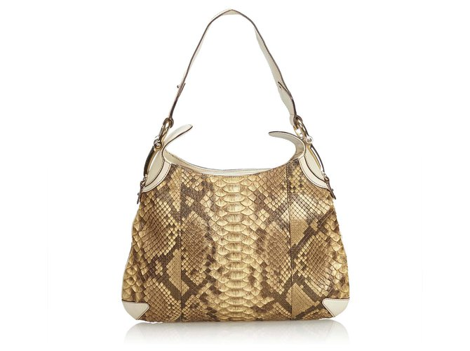 904d253fd Gucci Python Leather Horsebit Creole Shoulder Bag Handbags Leather,Other  Brown,White,Cream