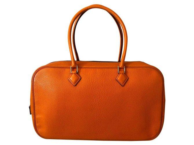 Hermès Plume Handbags Leather Orange ref.116373