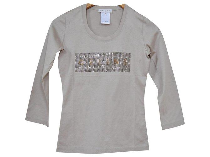 Céline Céline Long Sleeve Rhinestone Embellished Grey Jersey Top T-Shirt Size S SMALL Tops Cotton Grey ref.116503