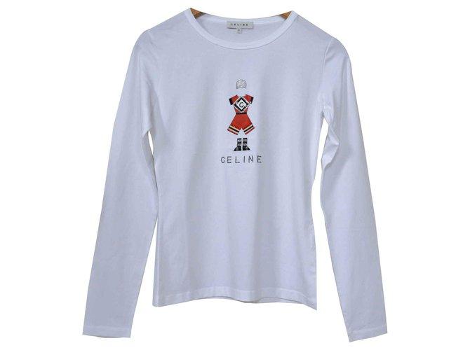 Céline Céline Long Sleeve Rhinestone Embellished Jersey Top T-Shirt Size S SMALL Tops Cotton,Elastane White ref.116513