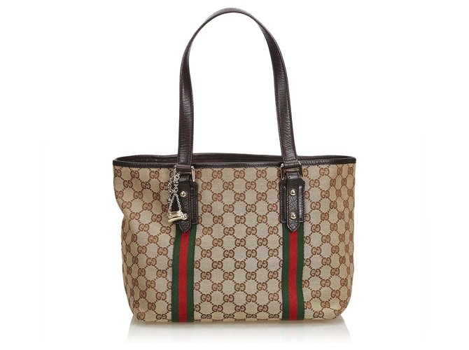 2916cb3b2f22 Gucci GG Jacquard Jolicoeur Tote Bag Totes Leather,Other,Cloth  Brown,Multiple colors